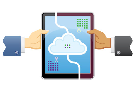Two business people share data through their digital devices, both use the cloud to store your data.
