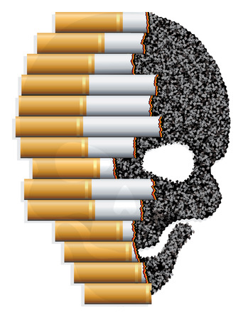 Illustracion about the risk of smoking. Cigarettes are consumed leaving skull shaped ashes. Ilustração