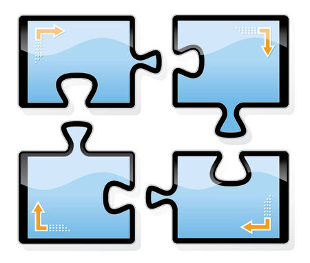 Four digital tablets shaped puzzle come together to share data.EPS10 with transparenciesObjects are grouped and in separate layers.