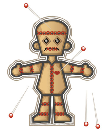voodoo doll: Typical voodoo doll used to make evil spells and hexesEPS10 with transparenciesObjects are grouped and in separate layers.