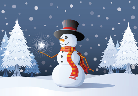 A cheerful snowman contemplates a star on her hand.