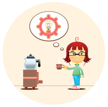 A girl has a moment of inspiration while drinking coffee. Vector