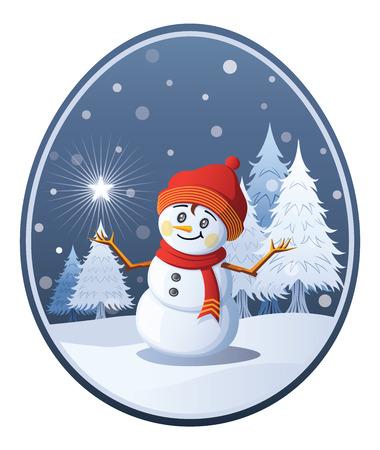 A cheerful snowboy contemplates a christmas star on her hand. Ilustração