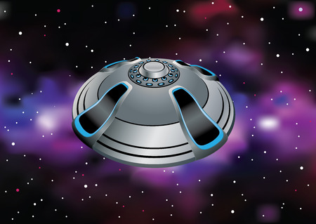 An unidentified flying object crosses the deep space.