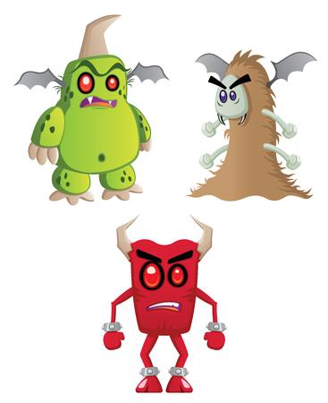 A group of three big monsters angry. Ilustração