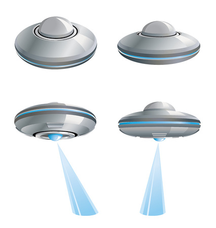 Four silver flying saucer with blue lights.