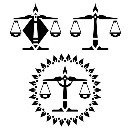A scale of justice in three different versions.