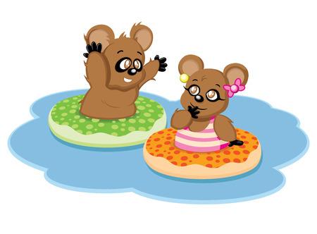 Twee kleine beren spelen in het water met hun kleurrijke praalwagens.