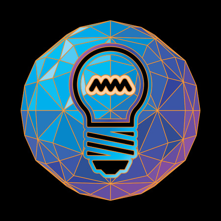 Abstract version of a light bulb on a background of blue tones.