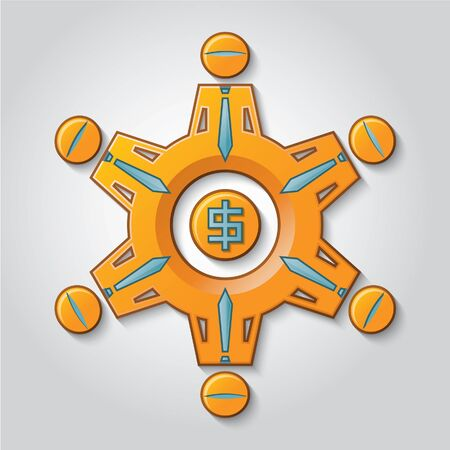 generates: A gear represents a work team that generates earnings. Illustration