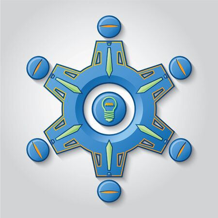 A gear represents a work team that generates ideas.