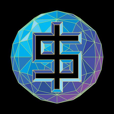 The dollar symbol on a circular background of blue shades.