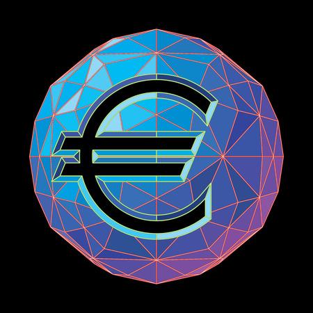 The euro symbol on a circular background of blue shades. Ilustração