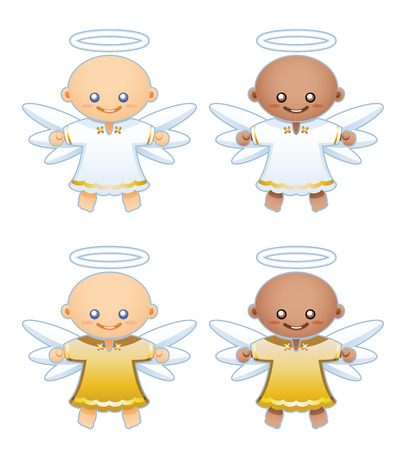 Small winged angels with white and gold robes, extend their arms to fly.
