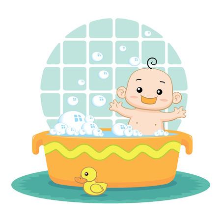 Cute baby prendre un bain à bulles