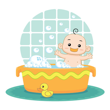 Cute baby taking a bubble bath