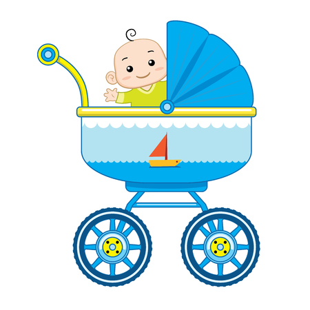 A happy baby boy ride in his baby carriage.