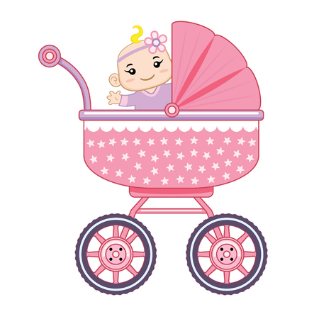 A happy baby girl ride in his baby carriage.