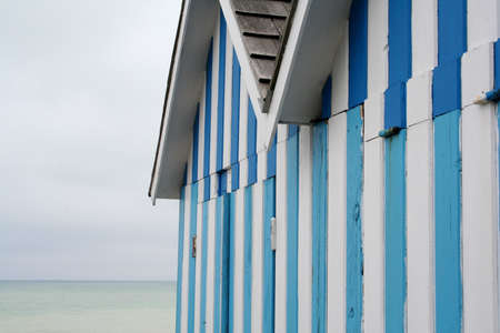 blue striped beachhuts