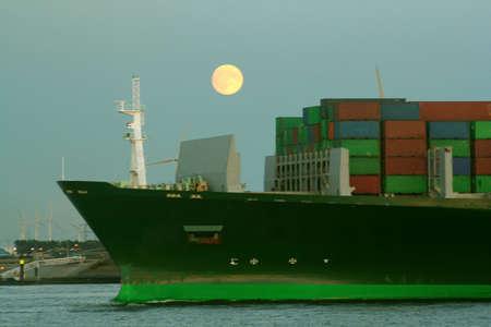 ship in moonlight harbour