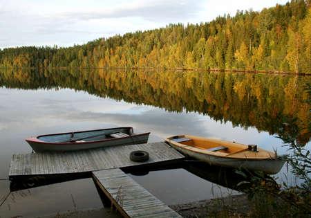 boats at calm lake