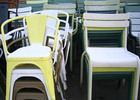 chairs in winter Stock Photo