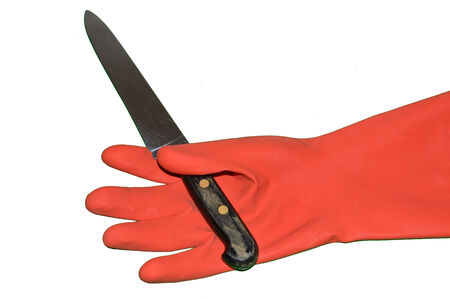 suspense: Glove with a knife ready to kill