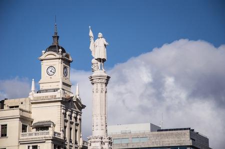 plaza: Sculpture Plaza Colon in Madrid Spain