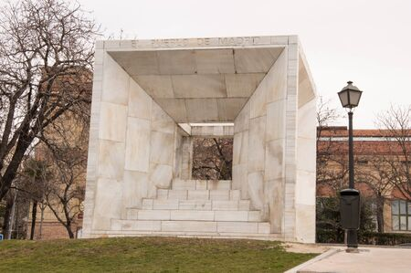 moderm: Spanish Constitution monument. Architect Miguel Angel Ruiz-Larrea. built in 1978 Stock Photo
