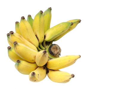 Cultivated bananas or Thai bananas on isolated white background  photo