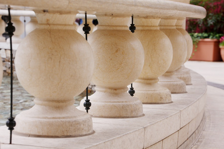Close up of white mable balustrade
