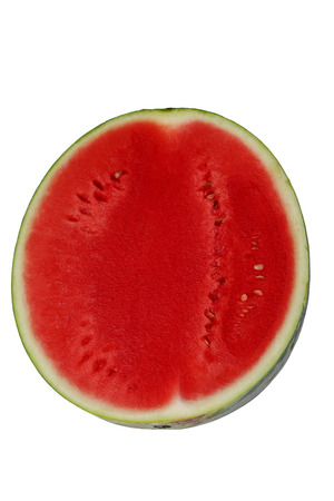 flesh: half of red watermelon isolated on white  Stock Photo