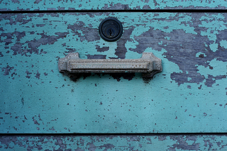 grungy drawer with cracked paint photo