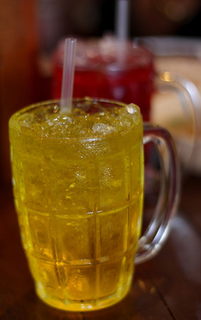 relive: Chrysanthemum juice, Chinese Thai herbal juice. Refreshment cold drink.
