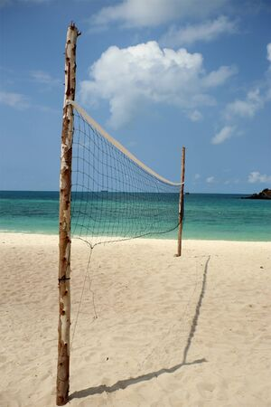 Volleyball net on the beach. photo