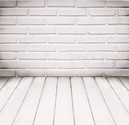 white wood floor: White room, brick wall and wood floor for background Stock Photo