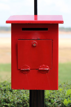 standard steel: Old red mailbox.