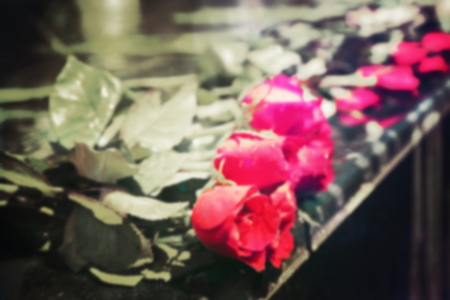 memorise: Blurred red rose bouquet laying on shrine, tone image. Stock Photo
