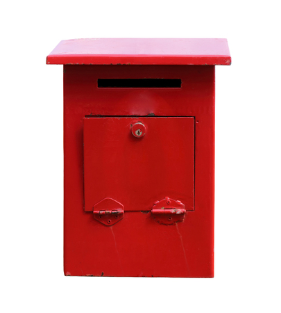 standard steel: Old red mailbox isolated on white background with clipping path.
