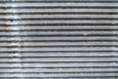 Grungy corrugated iron wall, dirty metal texture.