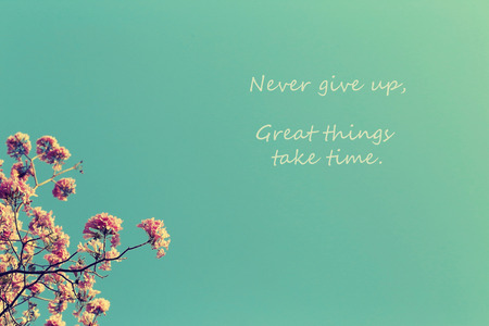 give up: Inspirational Typographic Quote - Never give up, great things take time. Leafless tree branch with pink flowers against blue sky background, toned image.