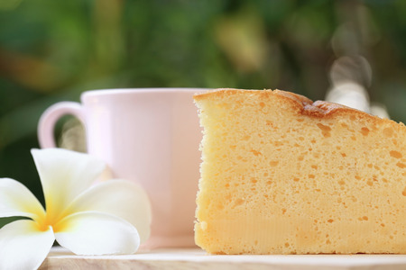 Pieces of Japanese style Cheesecake and cup of coffee with green garden background.