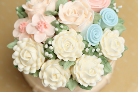 Wedding Or Birthday Cake Decorated With Flowers Made From Cream Stock Photo Picture And Royalty Free Image 61964224