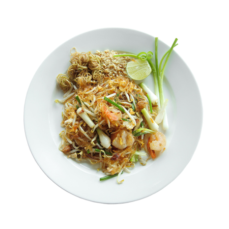 Pad Thai, Thailands national dishes, stir-fried rice noodles, Thai style noodles, isolated on white background with clipping path.