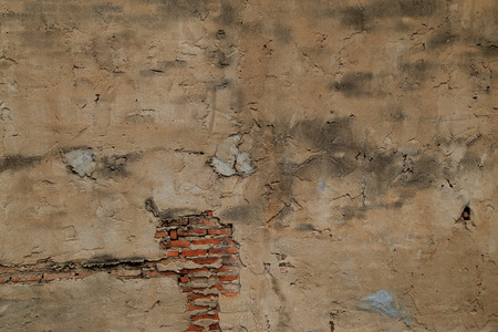 suffusion: The old cracked wall of the abandoned ruins.