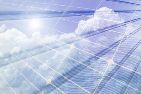Renewable energy, solar panels composition Stock Photo