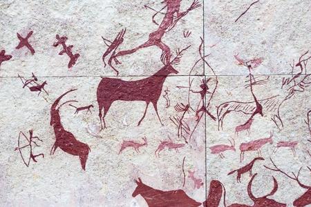 Replica of hunting scene on stone