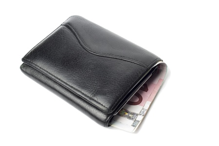 Leather wallet with euro banknote, isolated on white