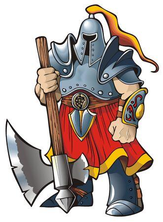 cartoon warrior: Cavaliere con un ascia Vettoriali