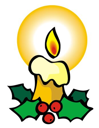 Christmas candle, element for design, vector illustration Vector